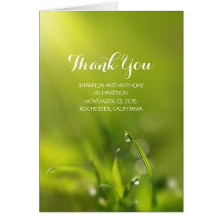 Green romantic grass wedding thank you cards