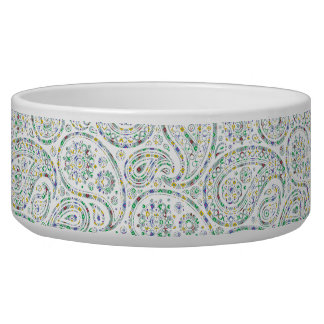 Green Rombic Pastel Paisley Pet Bowl