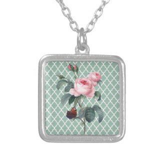 Green Rose Orient Silver Plated Necklace