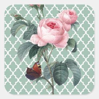 Green Rose Orient Square Sticker