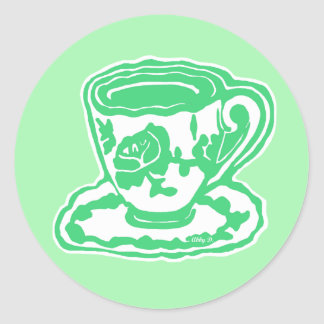 Green Rose Teacup Stickers
