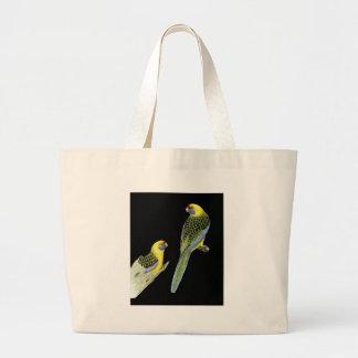 Green Rosella Pair - Platycercus caledonicus Large Tote Bag