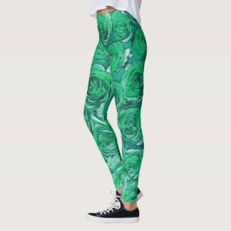 Green  Roses Leggings