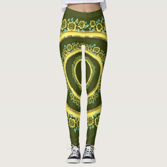 Green roses pattern cute Leggings