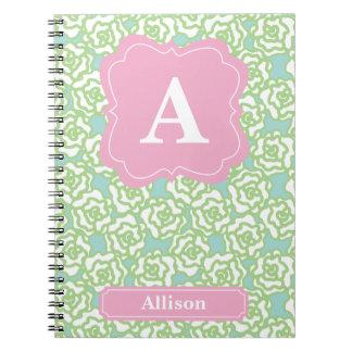 Green Roses Pink Monogram Notebook