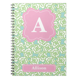 Green Roses Pink Monogram Spiral Notebook