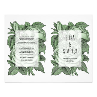 Green roses vintage wedding folded program flyer