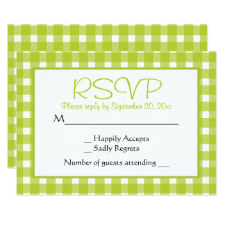 Green RSVP Gingham Plaid Wedding Party Checks Card