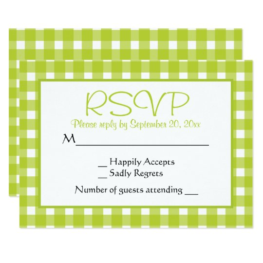 Green RSVP Gingham Plaid Wedding Party Checks Card