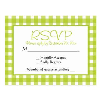 Green RSVP Gingham Plaid Wedding Party Checks Postcard