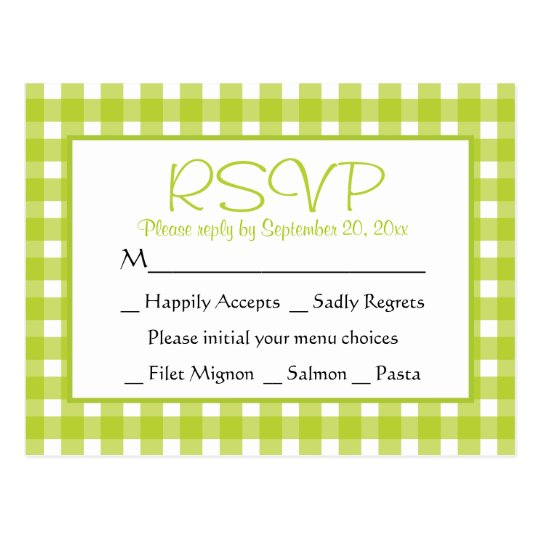 Green RSVP Gingham Plaid Wedding Party Checks Postcard