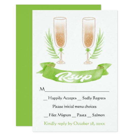 Green RSVP Watercolor Champagne Glasses Wedding Card
