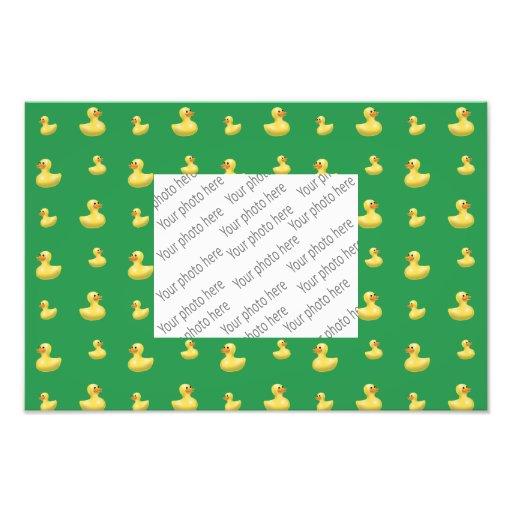 Green rubber duck pattern art photo