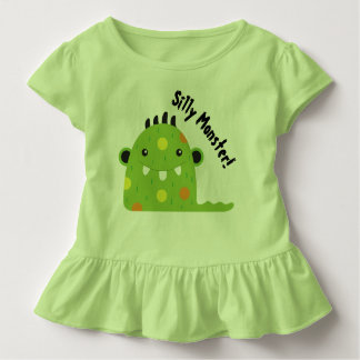 Green Ruffled Toddler Shirt with Silly Monster!
