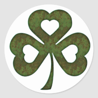 Green Rusted Metal Shamrock Clover Stickers
