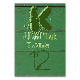 Green Rustic Barn Wood Script Table Card