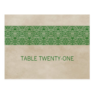 Green Rustic Lace Table Number Postcard