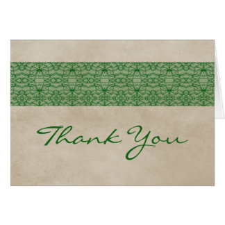 Green Rustic Lace Thank You Card