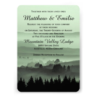 Green Rustic Mountain Wedding Invitation