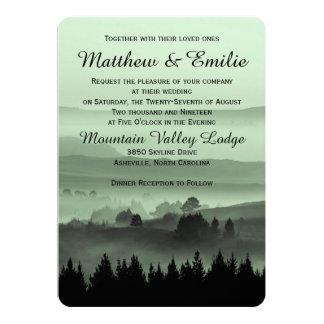 "Green Rustic Mountain Wedding Invitation 5"" X 7"" Invitation Card"
