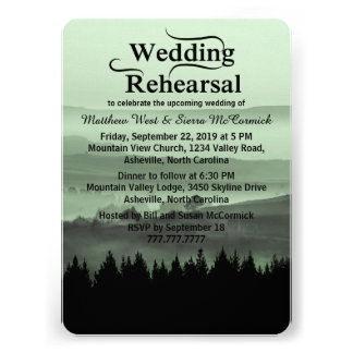Green Rustic Mountain Wedding Rehearsal Dinner Personalized Invite