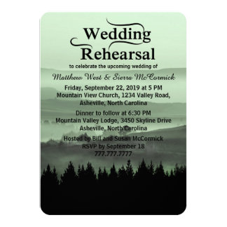 "Green Rustic Mountain Wedding Rehearsal Dinner 4.5"" X 6.25"" Invitation Card"