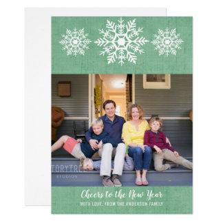 Green Rustic Snowflake New Year's Photo Flat Card