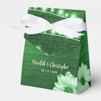 Green Rustic Wood String Lights Daisy Favor Box