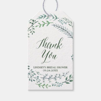 Green Rustic Wreath Bridal Shower Thank You Pack Of Gift Tags