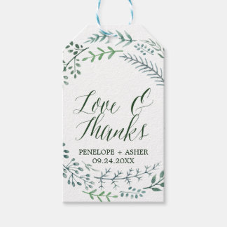 """Green Rustic Wreath """"Love & Thanks"""" Wedding Pack Of Gift Tags"""