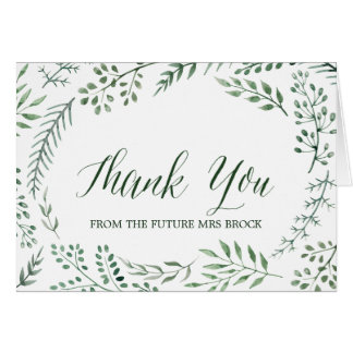 Green Rustic Wreath Thank You From the Future Mrs Card