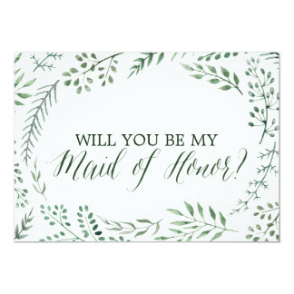 Green Rustic Wreath Will You Be My Maid of Honor Card