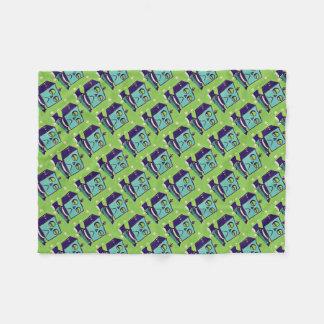 Green Sad Robot Pop Art Fleece Blanket