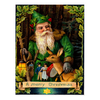 Green Santa in a forest with a deer Post Cards