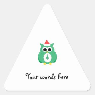Green santa owl triangle sticker
