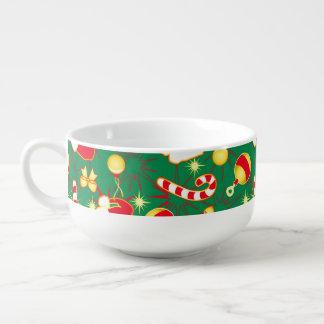 Green - Santa's cap Soup Bowl With Handle