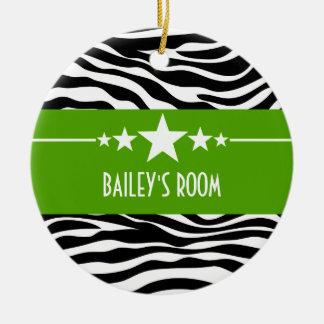 Green Sassy Star Zebra Ornament