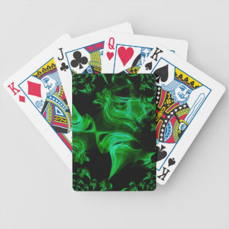 Green Satin fractal Bicycle Playing Cards
