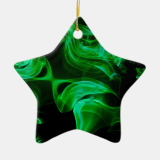 Green Satin fractal Ceramic Star Ornament