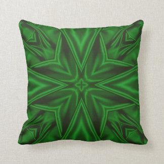 Green Satin Fractal Pillow