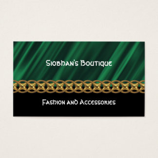 Green satin gold chain business card