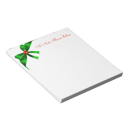 Green Satin Ribbon Notepad