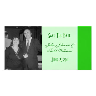 green save the date photo greeting card
