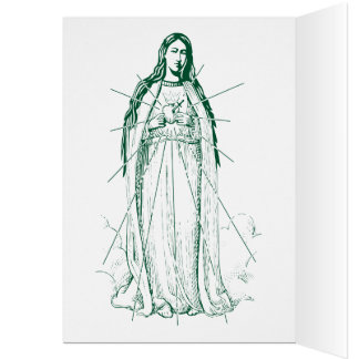Green Scapular in English in Portuguese Greeting Card
