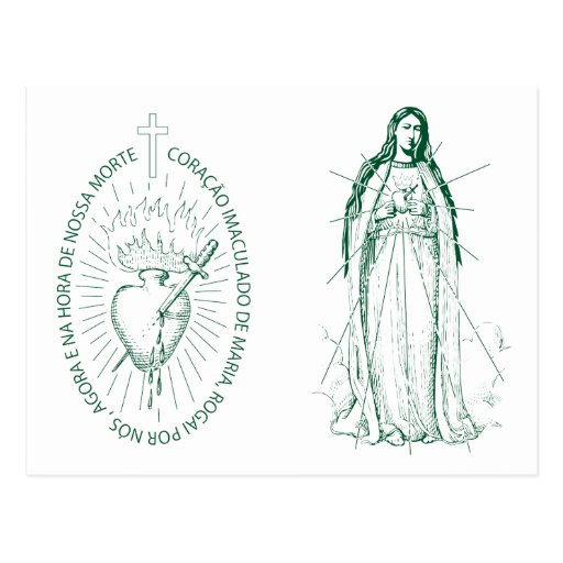 Green Scapular in English in Portuguese Post Cards