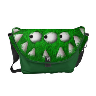 Green Scary Furry Monster Commuter Bag