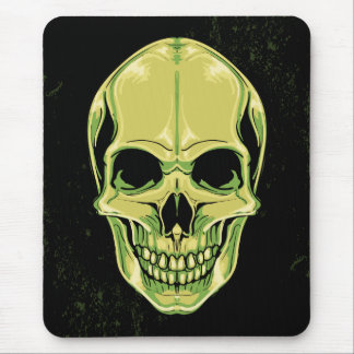 Green Scary Skull On Grunge Background Mouse Pad