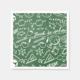 Green school chaulkboard party paper napkins