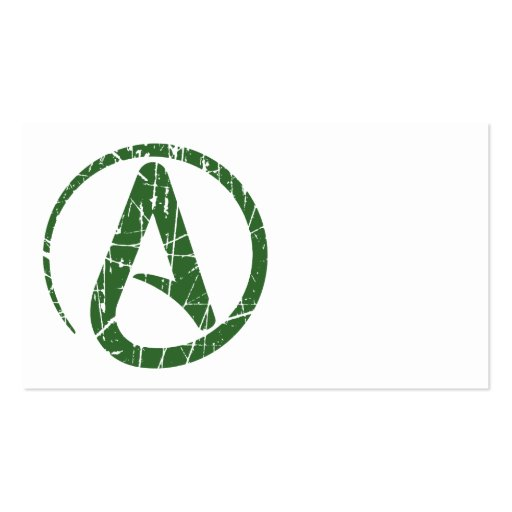 Green Scratched and Worn Atheist Atheism Symbol Business Card Template
