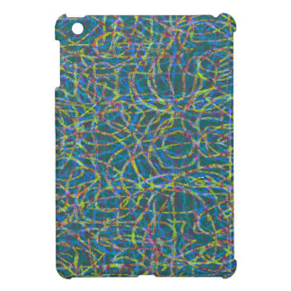 Green scribbled lines pattern iPad mini cover